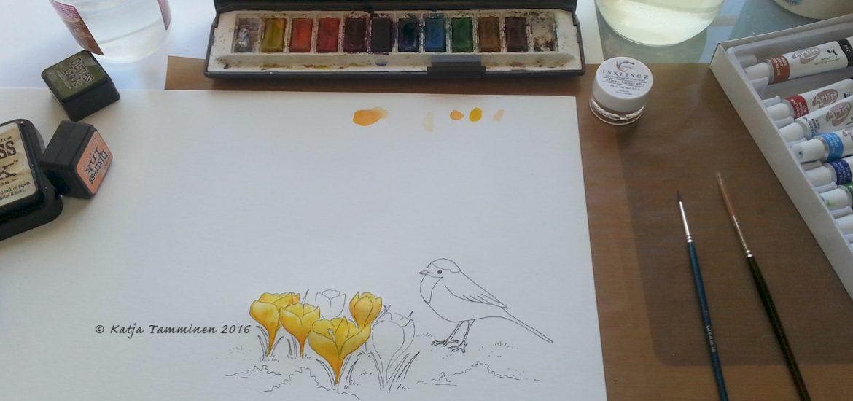 Muste- & vesivärityö valmistumassa. / Ink & watercolour work in progress.
